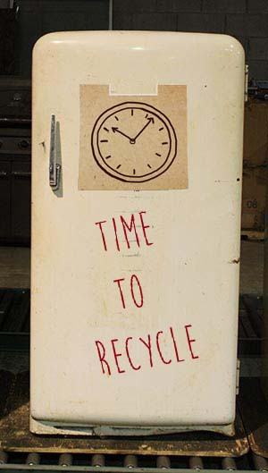 Old refrigerator awaiting recycling in Canada